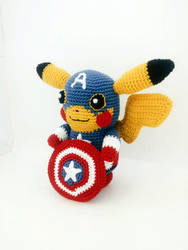 Pikachu Captain America Amigurumi (Doll + Pattern) by Marik0