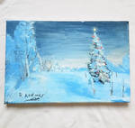 chrismas tree in the snow painting with acrylics by raouf-mxs