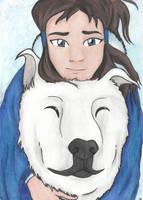 Korra and Naga by Lauratar