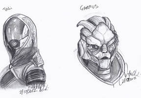 Tali and Garrus shaded drawings by Wolf-Shadow77