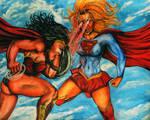 WonderWoman Vs Supergirl by CursedMadara