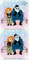 Frenemies on a bench by Demona-Silverwing