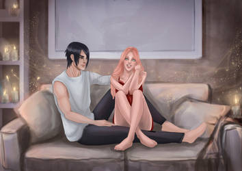 Sasuke and Sakura pajama party by Angela-Narish