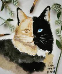 CAT #2 in watercolor by Kenchai29