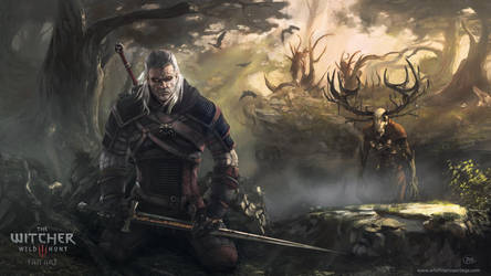 Geralt and Leshen fan art by MarinaOrtega