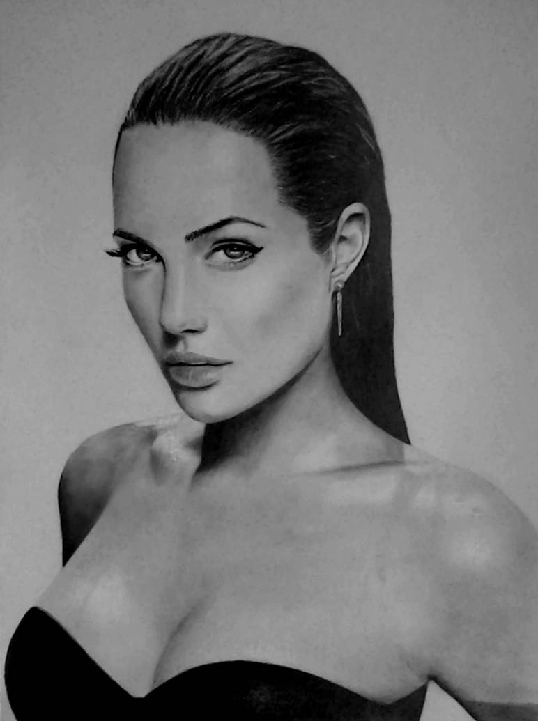 My pencil drawing of angelina jolie by alexart1994
