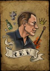 Rev Tattoo - Jim Heath Reverend Horton Heat by MadTwinsArt