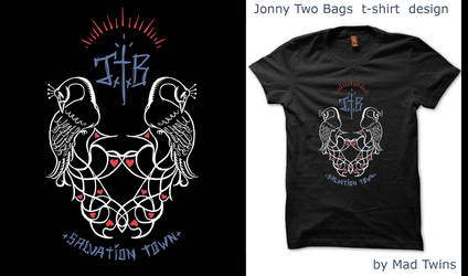 Jonny Two Bags Salavation Town T-shirt design by MadTwinsArt
