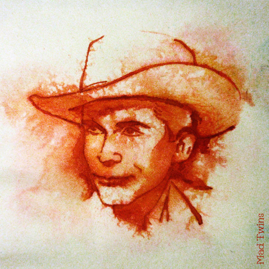 Hank Williams portrait - wet ink by MadTwinsArt