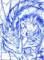 dragon n girl 2 pencil art by sinms