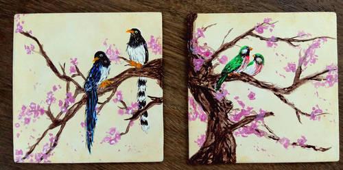 Sakura Bird Coasters by Akira-Miyashi