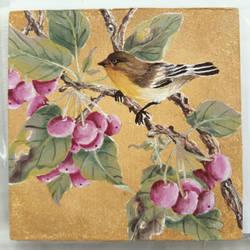 Berries and Bird Coaster by Akira-Miyashi