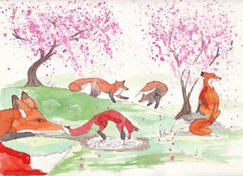 Day 128: Foxes in spring by cedarlili