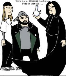 Jay Silent Bob and Snape by martellotower