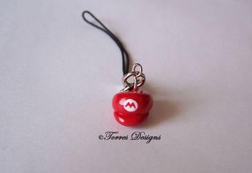 Mario Hat Cap Cellphone Charm Handmade by TorresDesigns