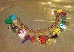 Custom OOAK Gold Tone Majora's Mask Charm Bracelet by TorresDesigns