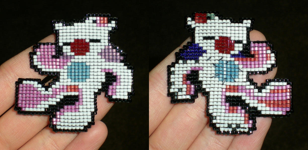 Double-Side Beadwoven FFXV Moogle Plush by wickedorin