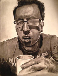 Self-portrait. Charcoal.  by mitchfuboy