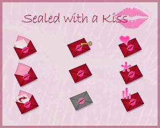 Sealed with a Kiss buttons by HelenaZF