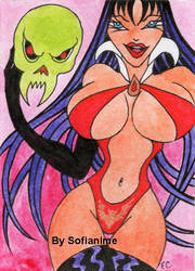 New Aceo XR Vampirella with Evil Skull! by sofianime