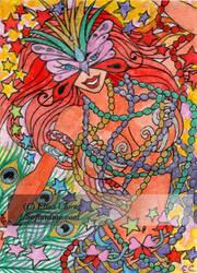Aceo XR Mardi gras mermaid by sofianime by sofianime