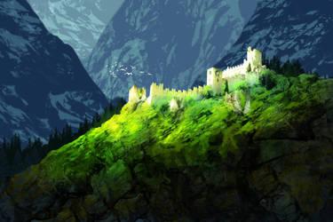 Fjord castle by VortexSupernova