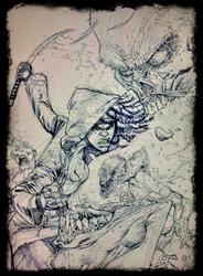 The Walking Dead 100 cover pencils by RyanOttley