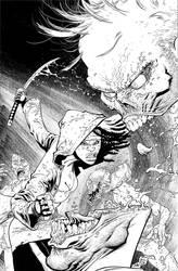 The Walking Dead 100 cover inks by RyanOttley
