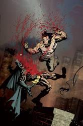 Batman VS Wolverine color by RyanOttley