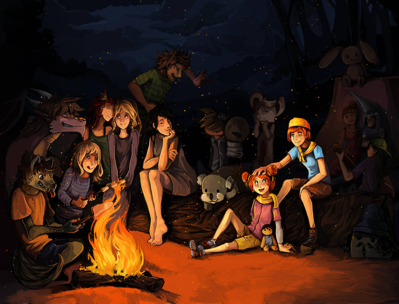 Friends around a campfire by LohiAxel