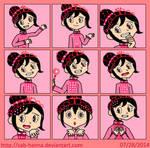 Princess Vanellope Expressions Sheet by Sab-Hanna