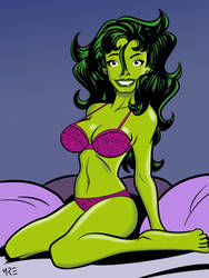 She-Hulk in Lingerie (Request) by MCRE1201