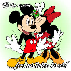 Mickey and Minnie and Mistletoe by MCRE1201