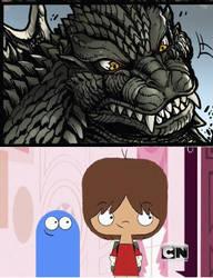Mac  Bloo meets Godzilla by ninjakingofhearts