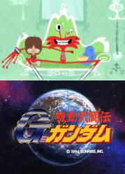 Mac, Wilt and Bloo watching G-Gundam by ninjakingofhearts