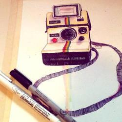 Polaroid in gouache and ink by SarahBeavis