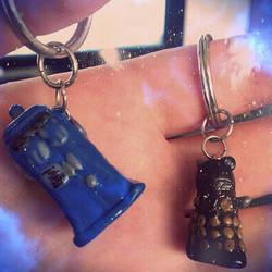 Tardis and Dalek keychains by SarahBeavis