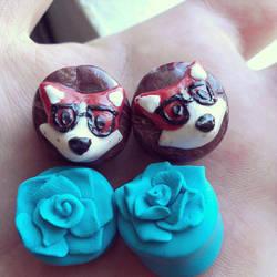 Fox and Rose Plugs by SarahBeavis