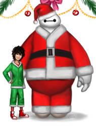 Santa Baymax and Elf Hiro by Ode-Chan