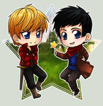 Merlin + Arthur by ZombieDaisuke