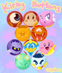 Buttons - Kirby and Friends by Jupeboxgal