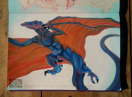 Blue Wyvern - Acrylic painting in Sketchbook by Pantiesaurus