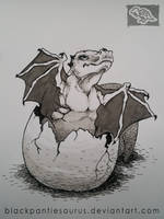 Inktober #6 - hatching baby dragon by Pantiesaurus