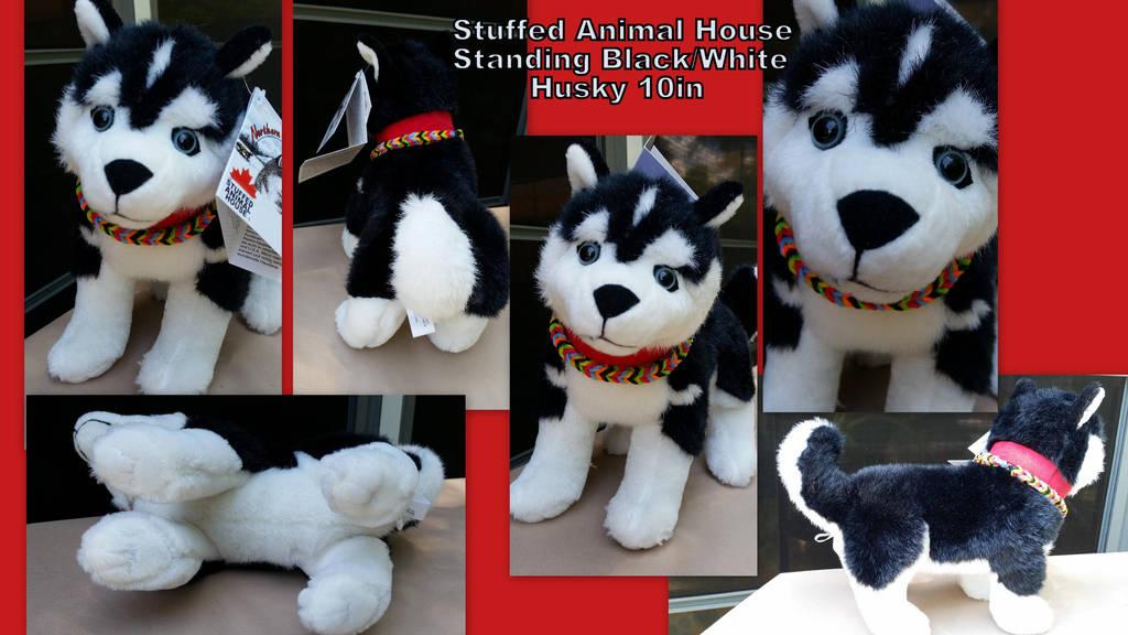 Stuffed Animal House Standing Black White Husky By Vesperwolfy87 On