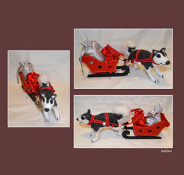 Needle Felted Husky Dog with Sleigh by wolfysilver