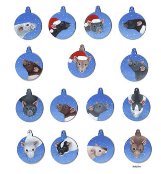 Rat Christmas Baubles by wolfysilver