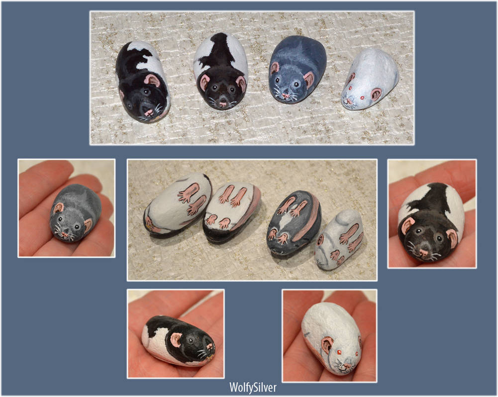 Rat Pebble Commissions by wolfysilver