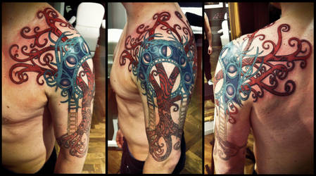 Art Nouveau Yggdrasil tattoo by Meatshop-Tattoo