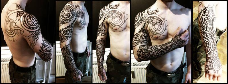 Nordic wyrm and geometry sleeve WiP by Meatshop-Tattoo