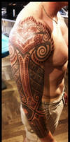 Celtic and bali inspired sleeve by Meatshop-Tattoo